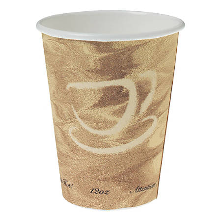 Solo® Mistique Polycoated Hot Paper Cups, 12 Oz, Brown, 50 Cups Per Sleeve, Case Of 20 Sleeves
