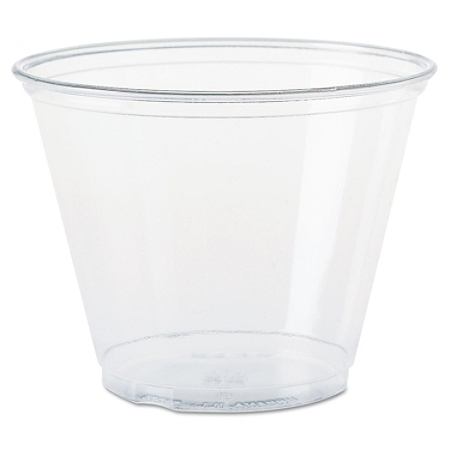 Solo® Squat Plastic Cold Drink Cups, 9 Oz, Clear, 50 Cups Per Bag, Case Of 20 Bags