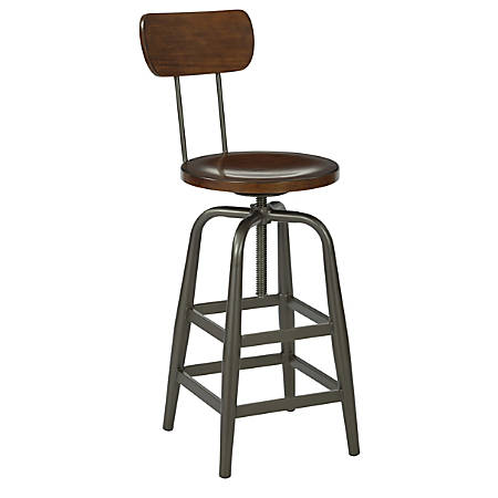 Ave Six Sullivan Swivel Stool, Walnut/Pewter