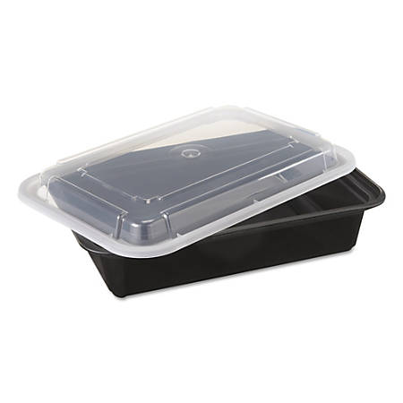 Pactiv VERSAtainer® Containers, 38 Oz, Black/Clear, Pack Of 150 Containers
