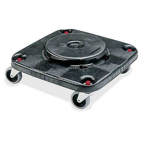 Rubbermaid Commercial Brute Container Square Dolly, 17.25 inches x 6.25 inches, Plastic, Black