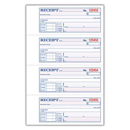 "Adams® Carbonless Money/Rent Receipt Book, 3-Part, 7 5/8"" x 11"", Book Of 100 Sets"