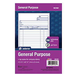 Adams Carbonless All Purpose Forms 2