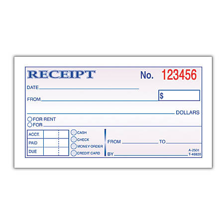 Adams MoneyRent Receipt Book 5 38 x 2 34 2 Part Carbonless 50 Set – Payment Receipt Book