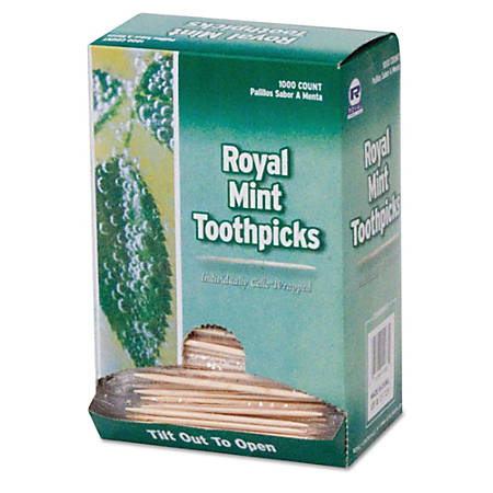 Royal Paper Products Cello-Wrapped Mint Toothpicks, Case Of 15,000 Toothpicks