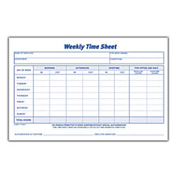 Adams Weekly Time Sheets 8 12 X 5 12 White 100 Sheets Per