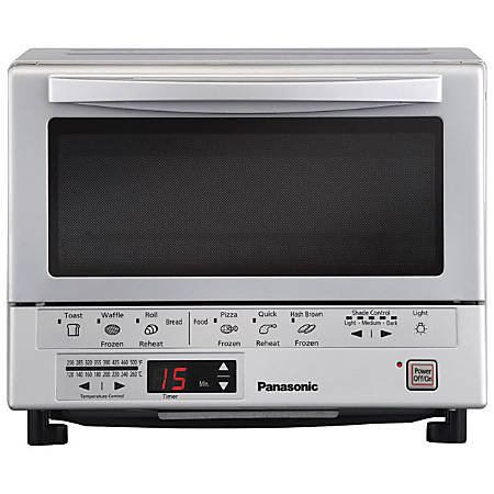 Panasonic FlashXpress Toaster Oven with Double Infrared Heating - 0.24 ft³ Capacity - 1300 W - Toast, Bagel, Reheat, Waffle - Silver