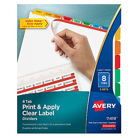 Avery Print Apply Clear Label Dividers With Index Maker Easy Apply - 8 tab divider template