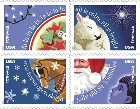 Usps Holiday Forever Postage Stamps Book Of 20 Stamps Item 162582