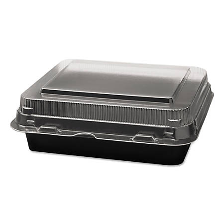 "Dart® Creative Carryouts® Boxline™ Hinged Plastic Hot Deli Boxes, 6 1/4""W, Black/Clear, Carton Of 200 Containers"