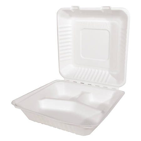 """SCT® ChampWare™ Molded-Fiber Clamshell 3-Compartment Containers, 9""""H x 9""""W x 3""""D, White, Pack Of 200 Containers"""