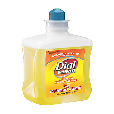 Dial Antimicrobial Foaming Hand Soap, For Foodservice, 1 Liter, Four bottles per Case, Sold by the Case