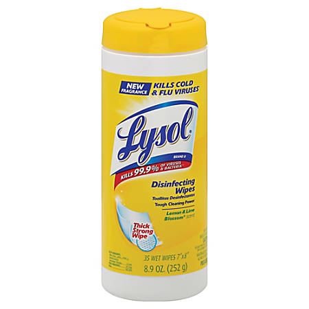 """Lysol Lemon & Lime Blossom Disinfecting Wipes, 7"""" x 8"""", 35 Wipes Per Canister, Case Of 12 Canisters"""