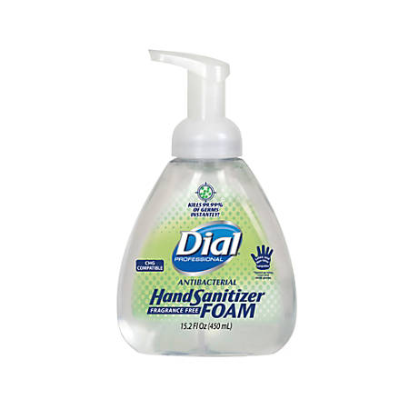 Dial Antibacterial Foaming Hand Sanitizer, No Fragrance, 450 Ml, Case Of 4