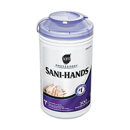 Sani-Professional Sani-Hands II Sanitizing Hand Wipes, 300 Wipes Per Canister, Carton Of 6 Canisters
