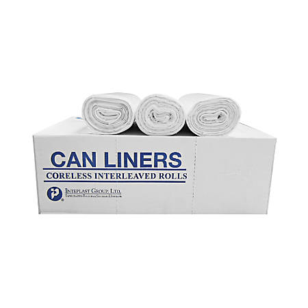 "Integrated Bagging Systems High-Density 0.31-mil Can Liners, 24"" x 24"", 10 Gallons, Clear, 50 Liners Per Roll, Case Of 20"
