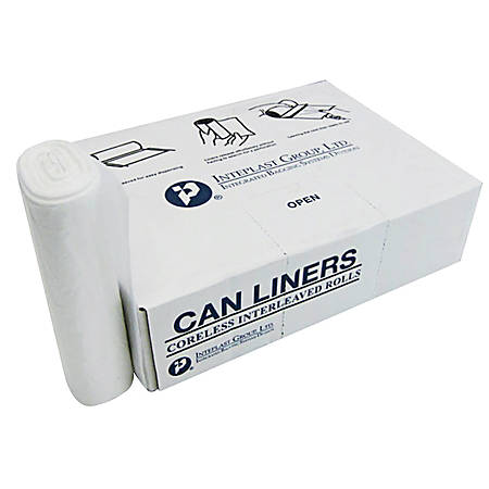 """Inteplast Group 8-mic Interleaved High-Density Can Liners, 12 - 16 Gallons, 24"""" x 33"""", Natural, Pack Of 20 Rolls, 50 Liners Per Roll"""