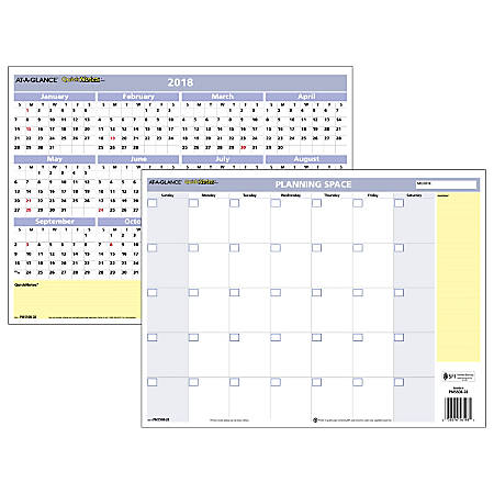 "AT-A-GLANCE® QuickNotes® Horizontal Mini Erasable/Reversible Wall Planner, 16"" x 12"", 30% Recycled, January to December 2018 (PM550B28-18)"
