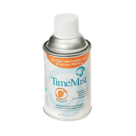TimeMist Metered Dispenser Mango Scent Refill - Aerosol - 6000 ft³ - 6.6 fl oz (0.2 quart) - Mango - 30 Day - 12 / Carton - Long Lasting, Odor Neutralizer