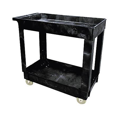 "Rubbermaid® 2-Shelf Service/Utility Cart, 31 1/4""H x 16""W x 34""D, Black"