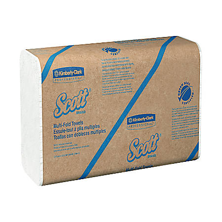 """Scott® Multifold Hand Towels, 9 1/4"""" x 9 7/16"""", 100% Recycled, White, 250 Towels Per Pack, Case Of 16 Packs"""