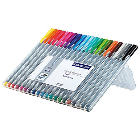 Staedtler® Triplus Fineliner Porous Point Pens, Fine Point, 0.3 mm, Gray Barrel, Assorted Ink Colors, Pack Of 20