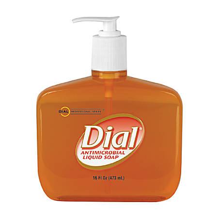 Dial Original Gold Antimicrobial Liquid Soap - 16 fl oz (473.2 mL) - Pump Bottle Dispenser - Kill Germs - Hand - Gold - Anti-bacterial, Moisturizing - 12 / Carton