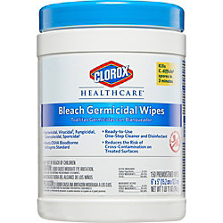 """Clorox Healthcare Bleach Germicidal Wipes, 6"""" x 5"""", 150 Wipes Per Canister, Case Of 6 Canisters"""