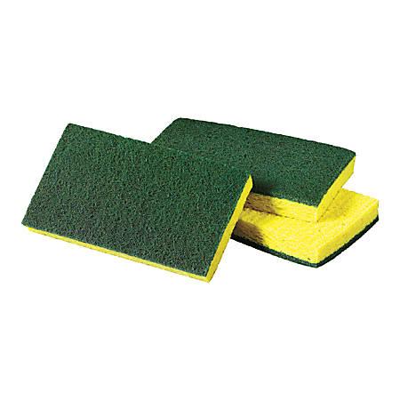 "Scotch-Brite™ Medium-Duty Scrubbing Sponges, 3-1/2"" x 6-1/4"", Yellow/Green, Carton Of 20"
