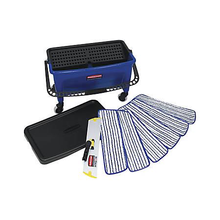 Rubbermaid® Microfiber Floor Finishing Kit, Black/Blue/White