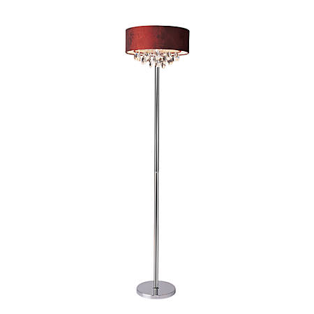 "Elegant Designs Romazzino Floor Lamp, 61 1/2""H, Red Shade/Chrome Base"