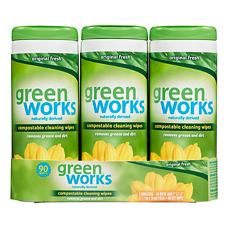 Greenworks Compostable Cleaning Wipes, Clean Citrus Scent, 30 Wipes Per Canister, 3 Canisters Per Pack, Case Of 5 Packs