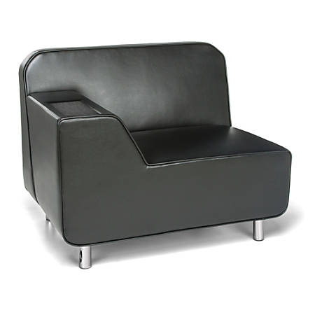 OFM Serenity Series Lounge Chair With Right Armrest, Black/Chrome