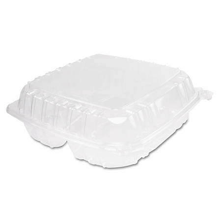 "Dart ClearSeal® Hinged-Lid Plastic Containers, 3 Compartments, 9""H x 9 1/2""W x 3""D, 100 Containers Per Bag, Pack Of 2 Bags"