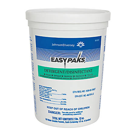 Diversey EASY PAKS Detergent/Disinfectant, Original Scent, 90 Packets Per Tub, Case Of 2 Tubs