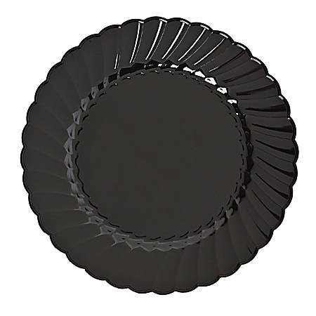 Classicware Plastic Plates, 6 inches, Black, Round, 18 packs of 10 plates, Sold as 180 plates per case