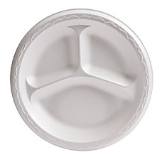 Genpak 3 Compartment Foam Dinnerware Plates