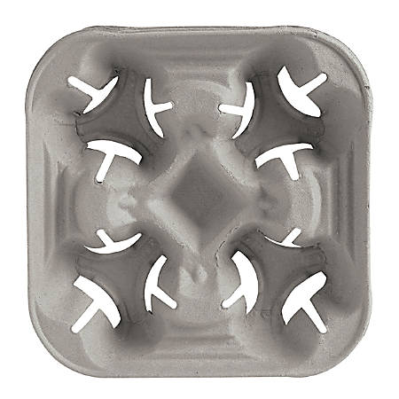 Chinet® StrongHolder® Molded Fiber Cup Trays, Fits 8 - 22 Oz Cups, 4-Cup Capacity, Beige, Pack Of 300 Trays