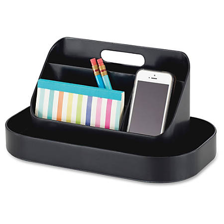"""Safco Desktop Plastic Toolbox - External Dimensions: 12.3"""" Width x 7.3"""" Depth x 8.5"""" Height - ABS Plastic - Black - For Tool, Notebook, Paper, Paper Clip - 1 Each"""