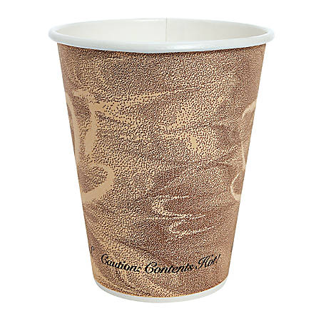 Solo Mistique Polycoated Hot Paper Cup, 8-oz., Printed, Brown, 20 sleeves of 50 cups. 1000 per Case