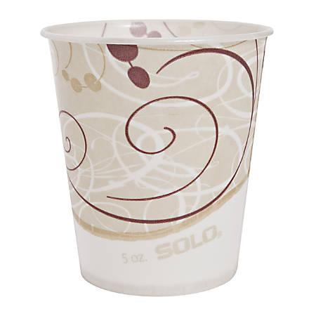 Solo® Waxed Paper Water Cups, 5 Oz, Symphony Design, 100 Cups Per Bag, Carton Of 30 Bags