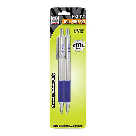 Zebra® F-402 Stainless Steel Retractable Ballpoint Pens, Fine Point, 0.7 mm, Assorted Barrels, Blue Ink, Pack Of 2