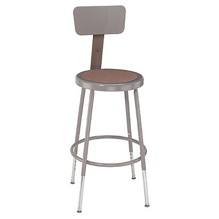 """National Public Seating Adjustable Hardboard Stool With Back, 32 - 41 1/2""""H, Gray"""