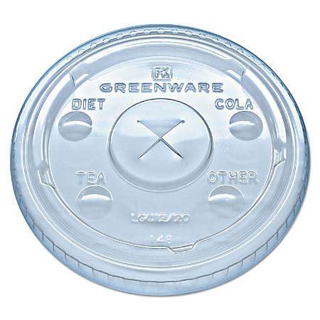 Fabri-Kal® Greenware® Cold Drink Cup Lids, Fits 9-, 12- And 20-Oz Cups, Clear, Carton Of 1,000 Lids