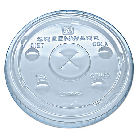 Fabri-Kal® Greenware® Cold Drink Cup Lids, Fits 16-, 18- And 24-Oz Cups, Clear, Carton Of 1,000 Lids