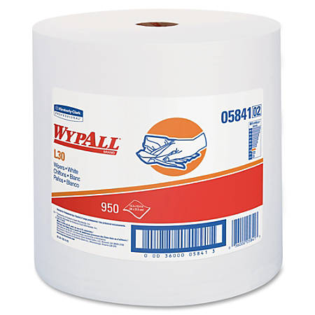 Wypall L30 Wipers Jumbo Roll - 950 Sheets/Roll - White - Reinforced, Soft, Perforated, Wet Strength, Light Duty - For General Purpose - 950 - 1 / Carton