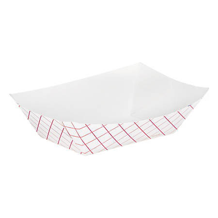 Dixie Kant Leek Paper Food Tray, Red Plaid Design, Polycoated, Holds 0.5 lbs, 4 Sleeves of 250 Trays per Case, Sold as a Case
