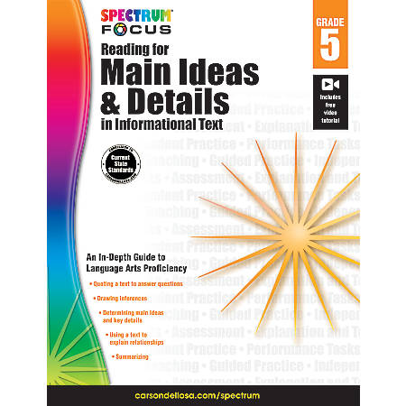 Spectrum® Reading For Main Ideas And Details In Informational Text Workbook, Grade 5