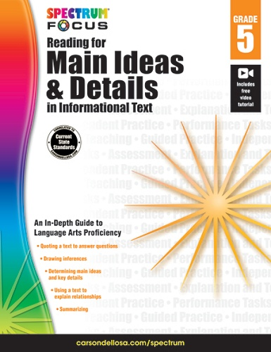 Spectrum® Reading For Main Ideas And Details In Informational Text  Workbook, Grade 5 Item # 164163