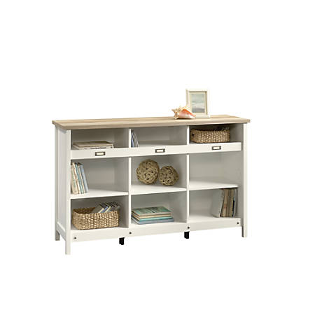 Sauder® Adept Storage Credenza, 9 Shelves, Lintel Oak/Soft White